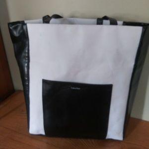 Calvin Klein black and white canvas everyday bag
